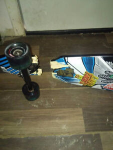 longboard wheels and trucks + busted board if wanted