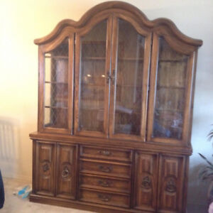 WALNUT CHINA CABINET WITH INTERIOR LIGHT...MOVING MUST SELL