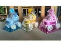 gorgeous unique handmade baby gifts, nappy cakes, nappy buggies, baby shower
