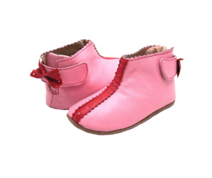 BNIB LIVIE AND LUCA LOLA PINK LEATHER BABY BOOTIES 18-24 MONTHS