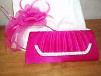 pink bag and fascinator