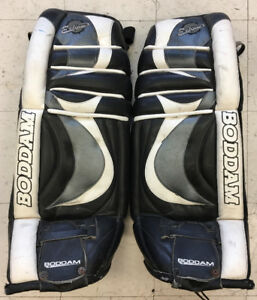 "Used Boddam ice hockey goalie pads 31"" leather 30"" vintage"