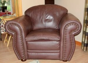 Leather Easy Chair & Loveseat