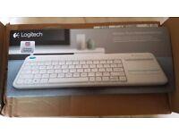 BNIB Logitech K400 Plus Wireless Touch Keyboard (White, UK Qwerty Layout)