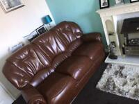 Brown leather 3 piece sofa with matching chair pristine condition