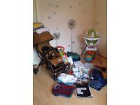 Pushchair, highchair, baby walker, baby boy clothes