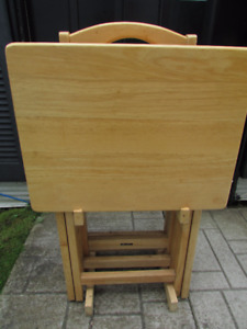 Solid maple TV tables - 4