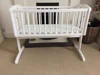 Mothercare rocking crib with mattress white.