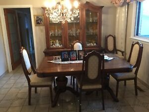 Dining Room Set Table Hutch Chairs