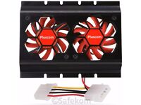 "3.5"" HDD Hard Disk Drive Dual Cooler Cooling Fan W/ 4 Pin Molex Connector Black Computer PC"