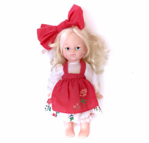Sweet Blonde Vintage Red Bow Doll