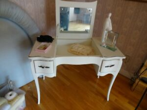 White Vanity with Gold Trim
