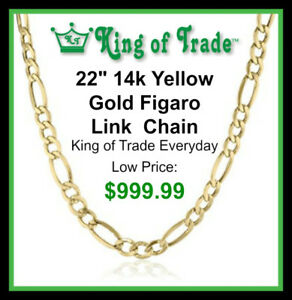 "22"" 14k Yellow Gold Link Figaro Chain - King of Trade"