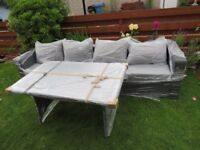 Rattan garden grey sofa with glass top table - New & Sealed