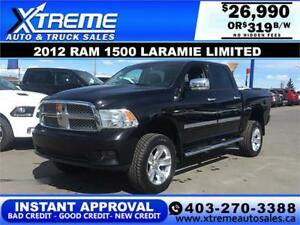 2012 RAM 1500 LIMITED CREW  *INSTANT APPROVAL* $0 DOWN $319/BW!
