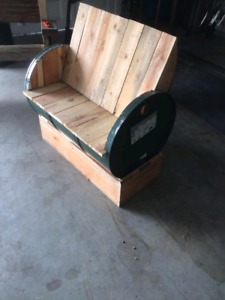 Recycled barrel bench and chairs