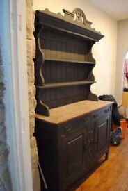 Shabby Chic Vintage Dresser Solid Wood Cupboard painted dark grey