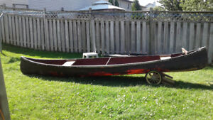 For Sale: 15 1/2'  Fiber glass Canoe