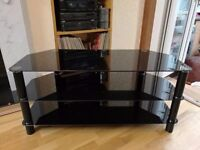 AS NEW Solid Heavy Duty Black Glass and Metal TV Stand + optional Bracket Mount + FREE Mini Stand
