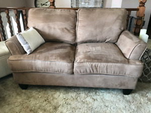 Tan Sofa Couch + Love Seat + Matching Chair for sale!