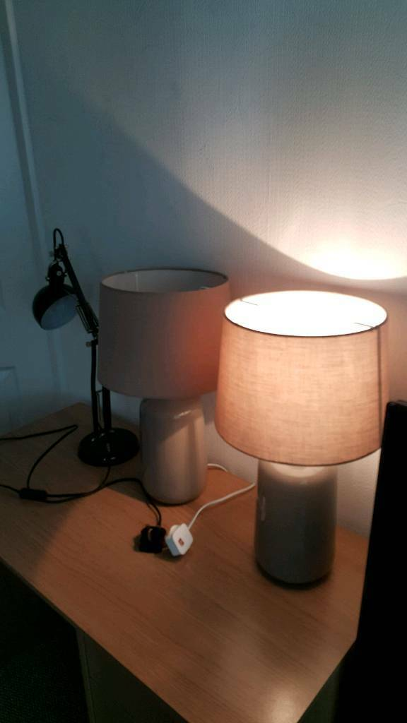 2 Wilkos table lamps beige and Ikea desk lamp all in full working order like new