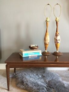 A Beautiful Pair of Mid Century Ceramic Drip Glaze Table Lamps