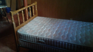 Single bed with headboard,frame ,mattress and box spring