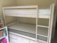 bunkbed with 3 single beds and storage under draws on castors VGC £300 ono