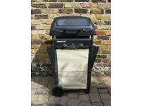 Barbeque two burner gas fired, good condition, 7kg butane gas cylinder nearly full, cooking utensils