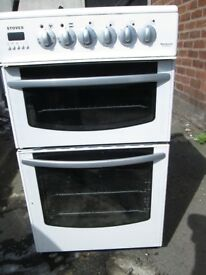 stoves newhome model:ec500doa electric cooker,double oven,grill,ceramic top in white used tested