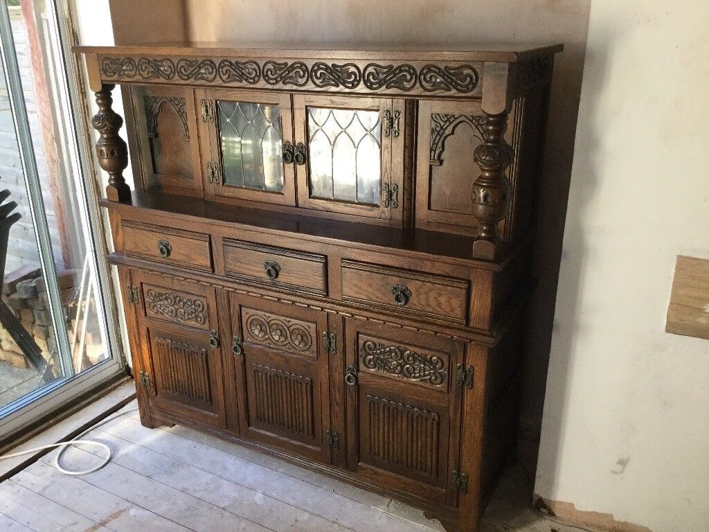 Old charm court cupboardin Chichester, West SussexGumtree - Old charm court cupboard, leaded window display, three draws, three cupboards, immaculate condition, space need hence giveaway price £150