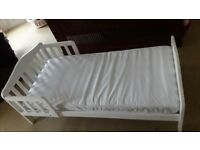 White Mothercare Toddler Bed and mattress