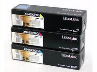 3x New Genuine Lexmark X945X2CG X945X2MG X945X2YG Cyan Magenta and Yellow Colour Toner Cartridges