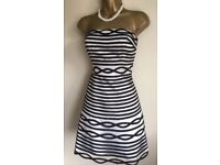 Karen Millen Silver & Black Fit n Flare Dress UK 8 ❤️