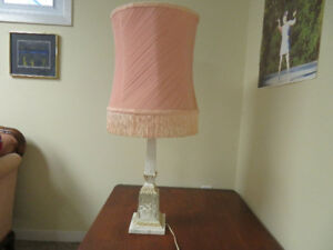 Table lamp with pale pink shade