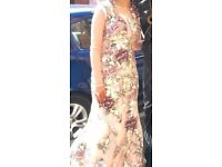 Floral netted nude gown in size 6-8, can be worn for an engagement, prom or wedding