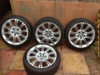BMW 18 inch alloy wheels with nearly new tyres