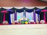 Wedding Stages & Mehndi Stages from £250, House lighting, Chair Covers & Centrepieces For Hire