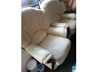 LEATHER CREAM SOFA PAIR - DOUBLE ARM VERY COMFY