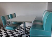 American style diner booth and 2 chairs