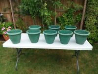 7 x green round plastic planters - just need a wash to look great