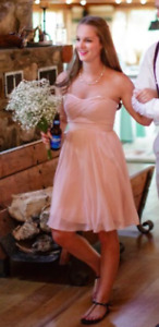 Blush Knee Length Bridesmaid Dress