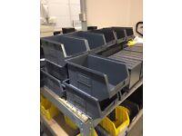 Assorted stacking storage bins