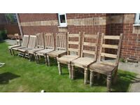 Antique solid wood garden chairs