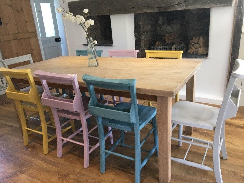 Laura Ashley Solid Oak Dining Table Lime Waxed 8 Painted Vintage Chic