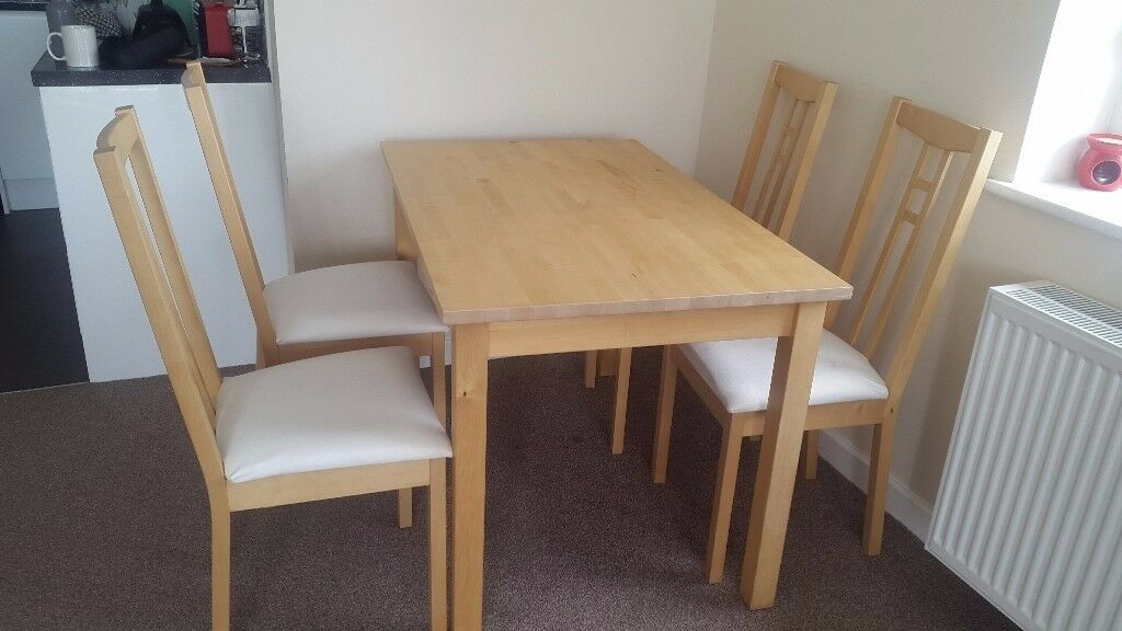 ikea bjorkudden wooden dining table u0026 x4 aron dining chairs