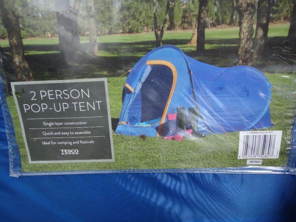 Tesco 2 Man Pop Up Cing Hiking Tent Outdoor Blue Orange & Two Man Pop Up Tent Tesco - Best Tent 2017