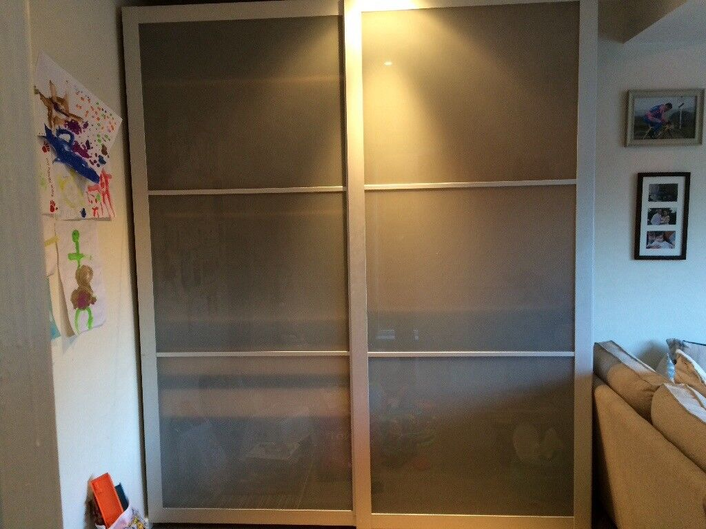 Ikea Pax Wardrobe Sliding Frosted Glass Doors, Tall Verison