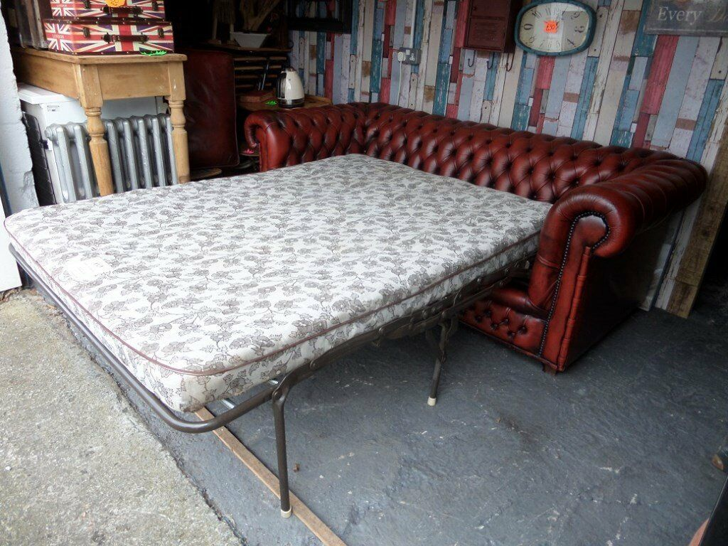 Stunning RARE Chesterfield Vintage Sofa Bed 4 Seater Sofa Oxblood Red  Leather   UK Delivery