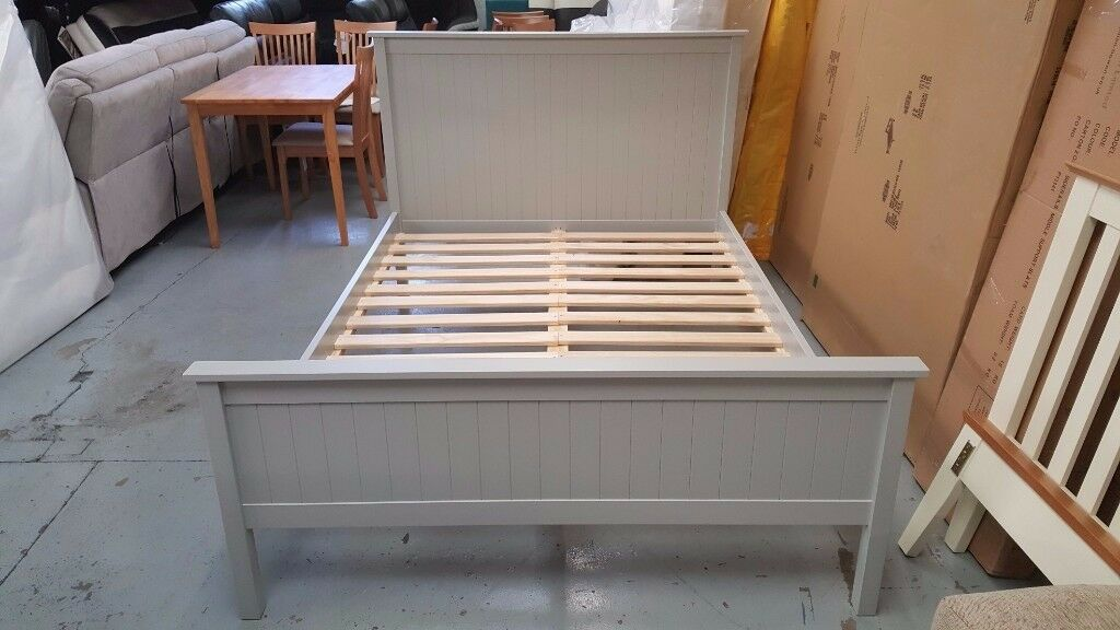Grey Wooden Double Bed Part - 47: Julian Bowen Maine Double Bed In Dove Grey **CAN DELIVER**
